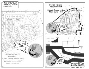 """This spread shows two pages from <em>Ce N'est Pas Le Monde,</em> a comic produced by Denis Wood and John Krygier to advance their argument that maps can be understood semiotically as collections of propositions of the form """"This is there."""" The answer to the question, on the next page, is obvious—""""They're maps!"""" Image courtesy of Denis Wood."""